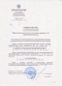 Свидетельство о гос регистрации НКО